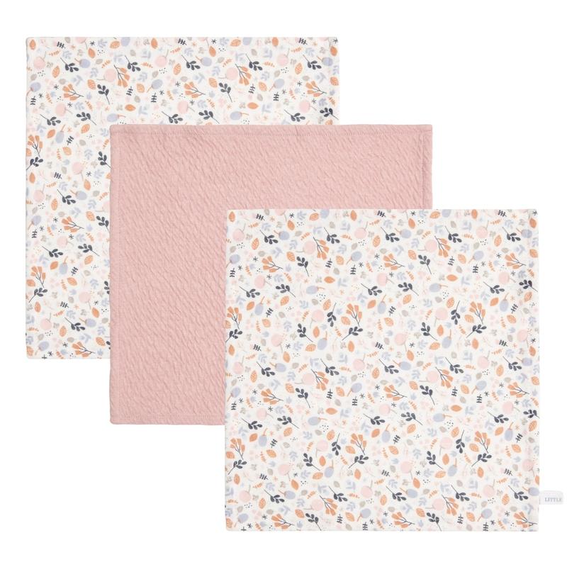 Spucktücher 'Spring Flowers' rosa 3er Set