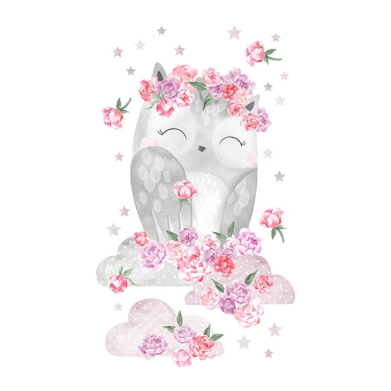 Wandsticker 'Eule' rosa/grau 53x71cm