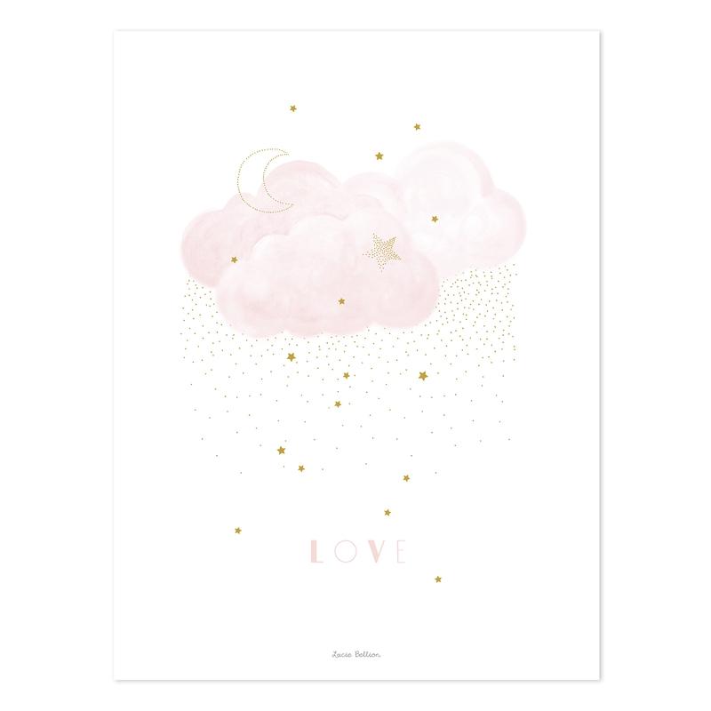 Poster 'Stardust' Wolke rosa/gold 30x40cm