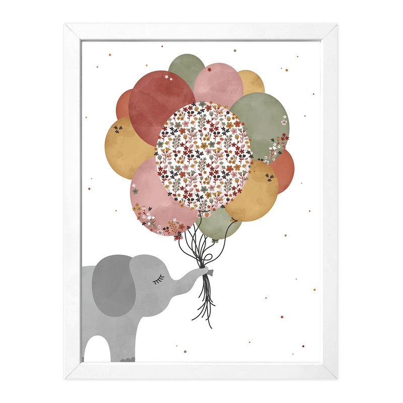 Poster 'Elefant & Luftballons' rostrot 30x40cm