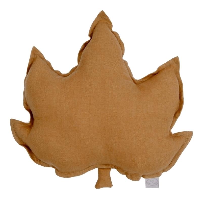 Kissen aus Leinen 'Blatt' karamell ca. 43cm