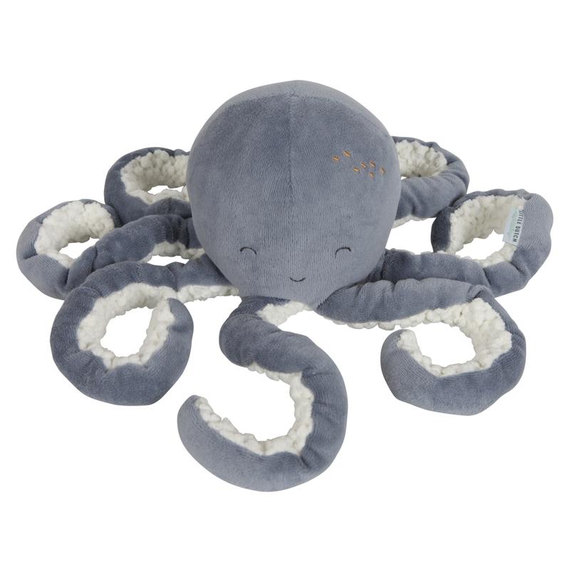 Kuscheltier 'Oktopus' Samt rauchblau 22cm