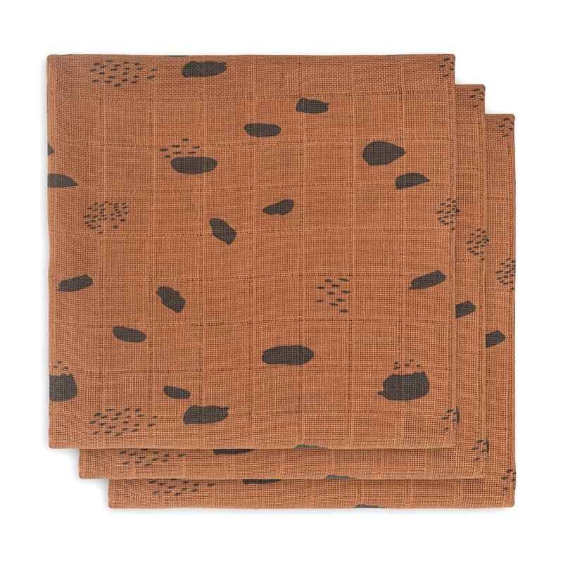Mulltücher 'Spot' rost 3er Set 70x70cm