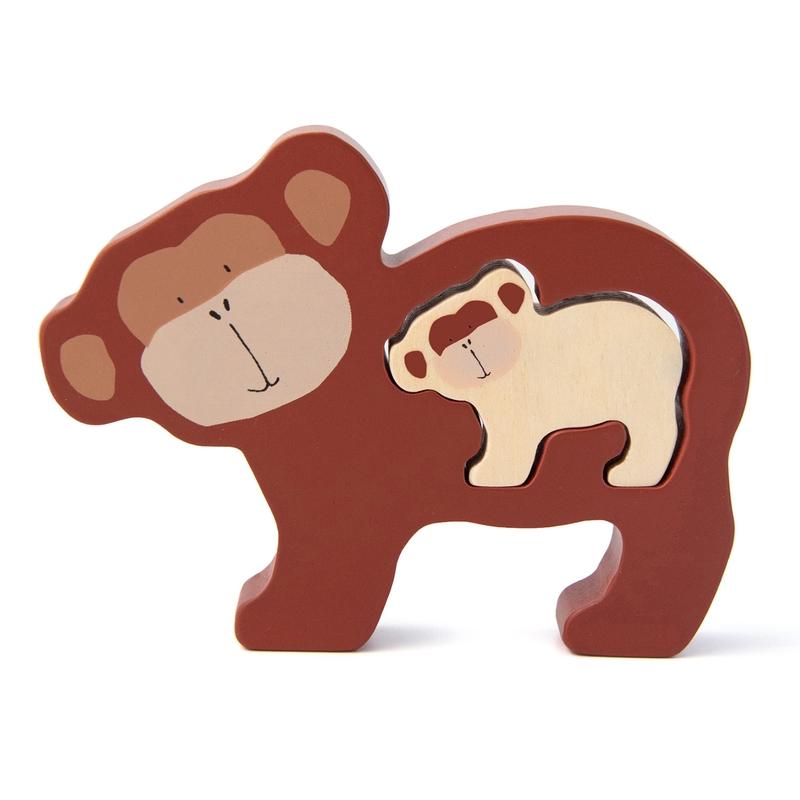 Baby Puzzle 'Affe' aus Holz braun ab 1 Jahr