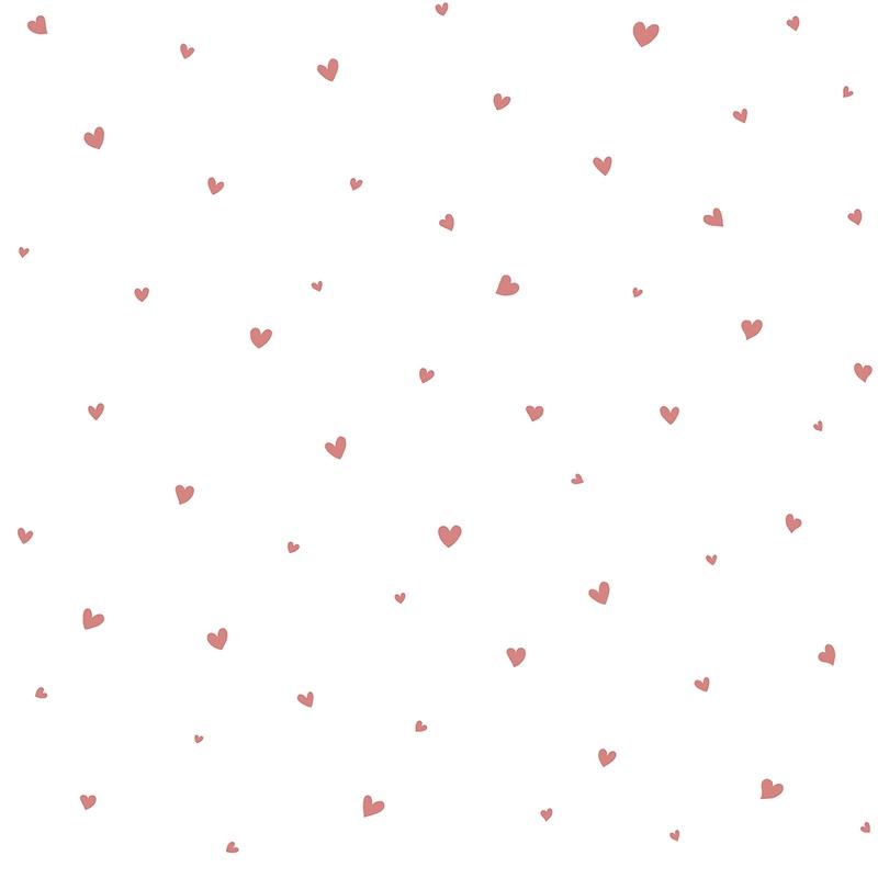 Vliestapete 'Herzen' weiß/rosa