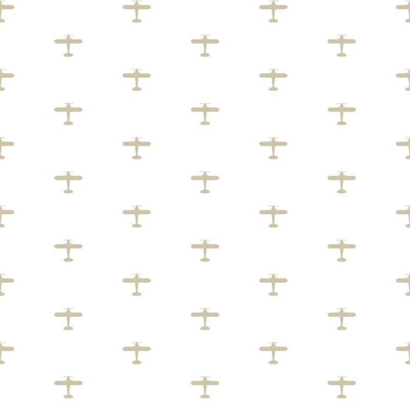 Vliestapete 'Flugzeuge' weiß/beige