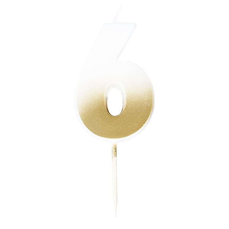 Zahlenkerze 6 'Mix it up' gold/weiß