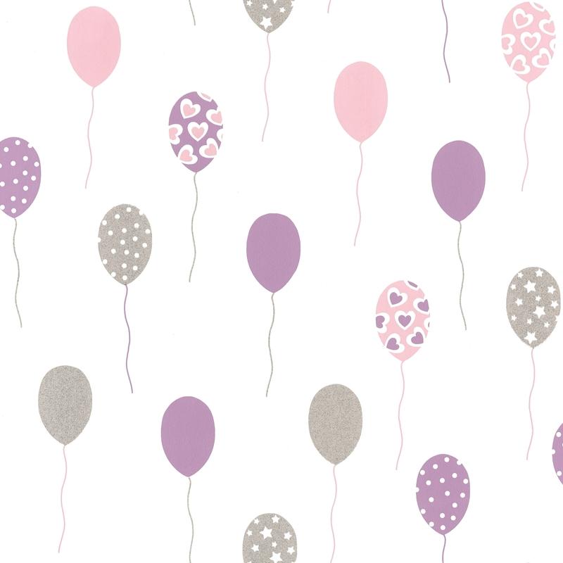 Tapete Luftballons lila/silber 'Girl Power'