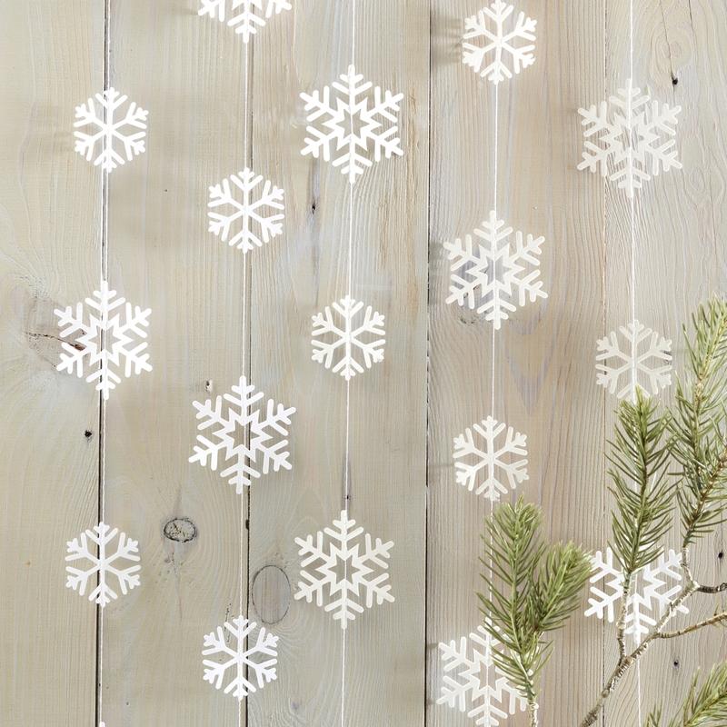 Schneeflocken-Girlande weiß 500cm