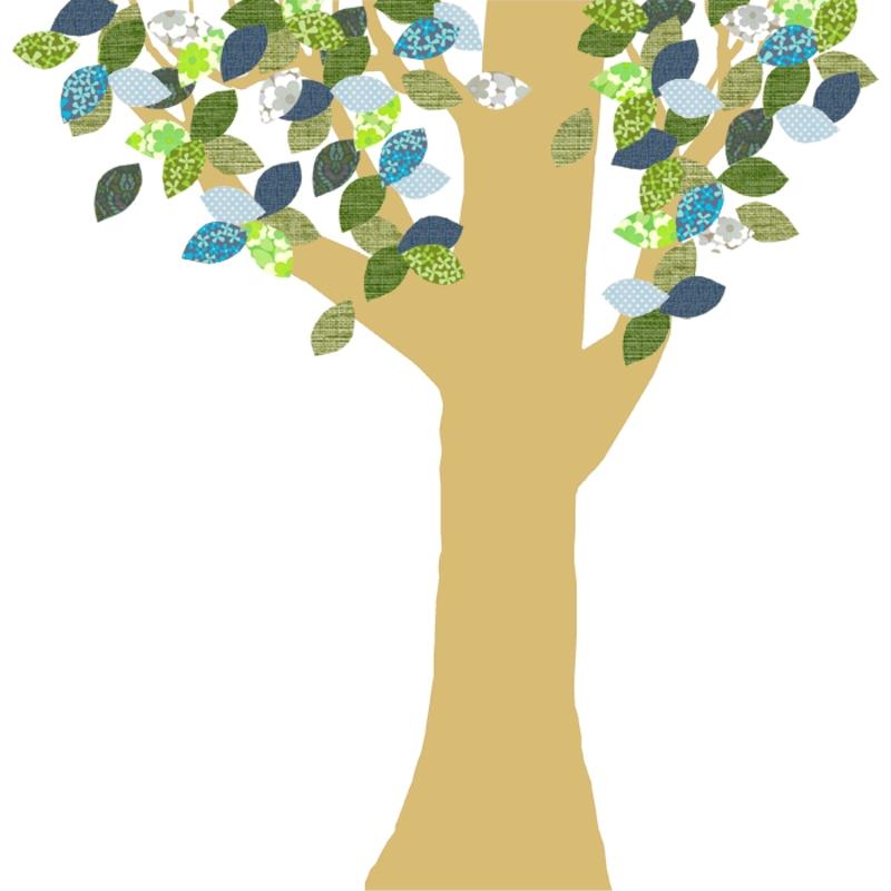Tapetenbaum groß gold/blau/grün