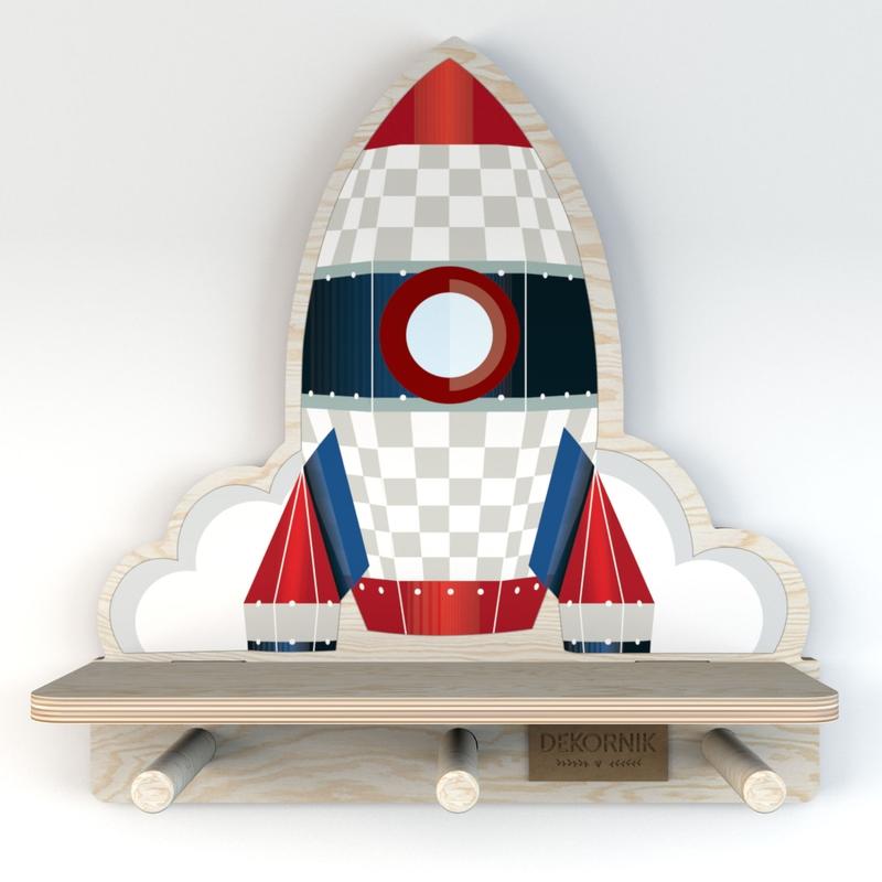 Wandregal & Garderobe 'Rakete' blau/rot 32cm