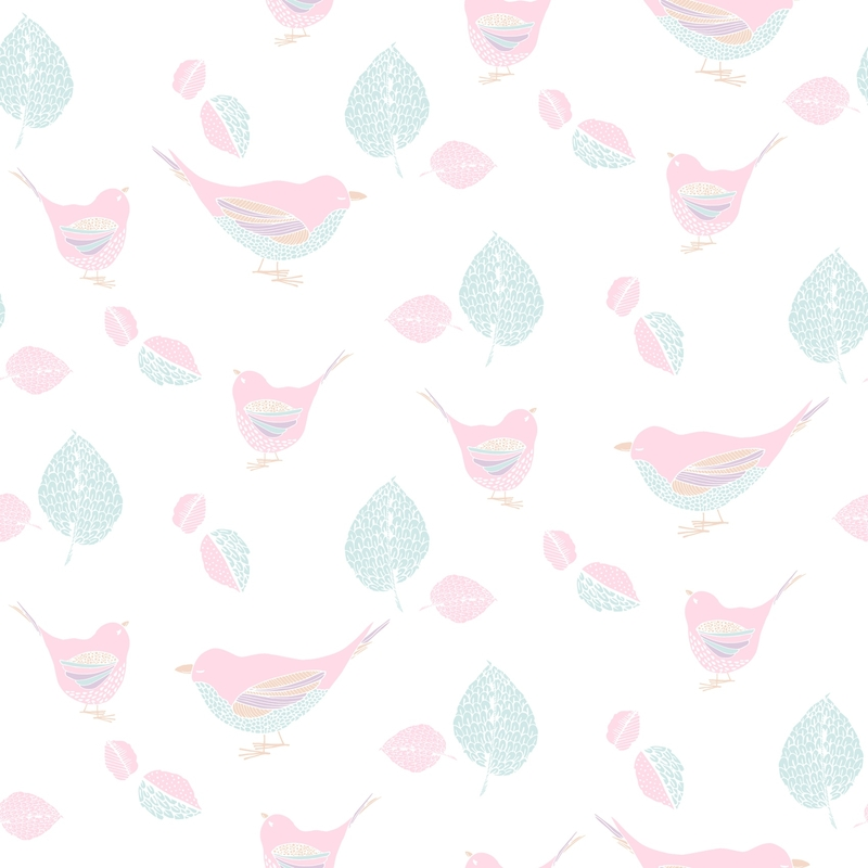 Vliestapete 'Vögelchen' rosa/aqua