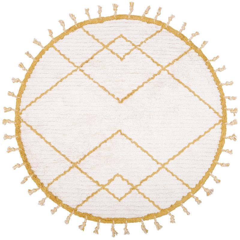 Baumwollteppich rund creme/gelb 120cm