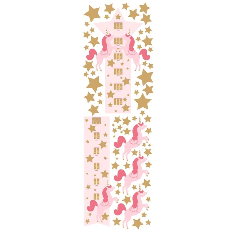 Wandsticker 'Einhorn' rosa/gold