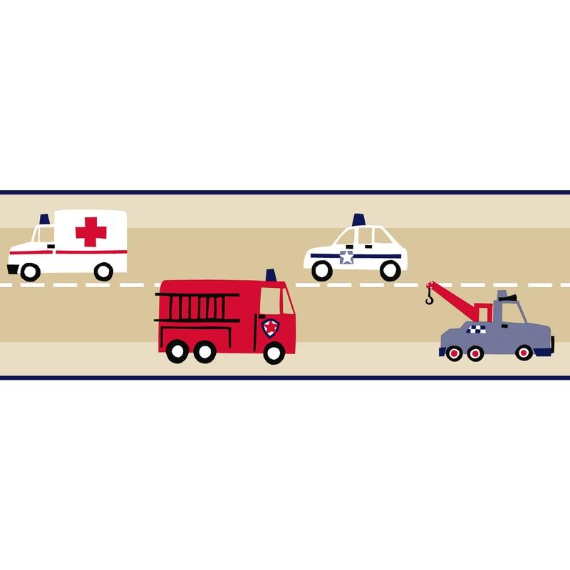 Bordüre 'Fahrzeuge' beige/rot/blau