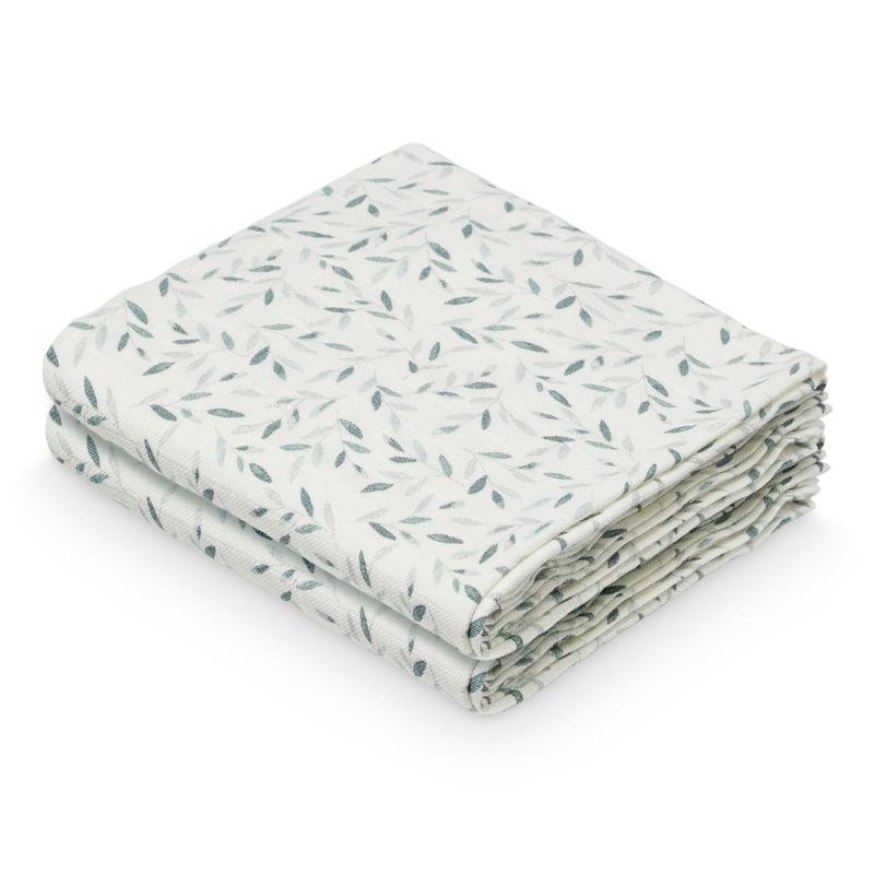 Mulltücher 'Leaves' grün 2er Set 70x70cm