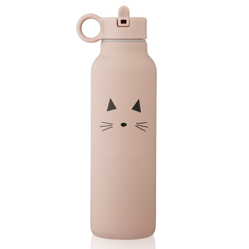 Trinkflasche 'Katze' Edelstahl rosa 500ml