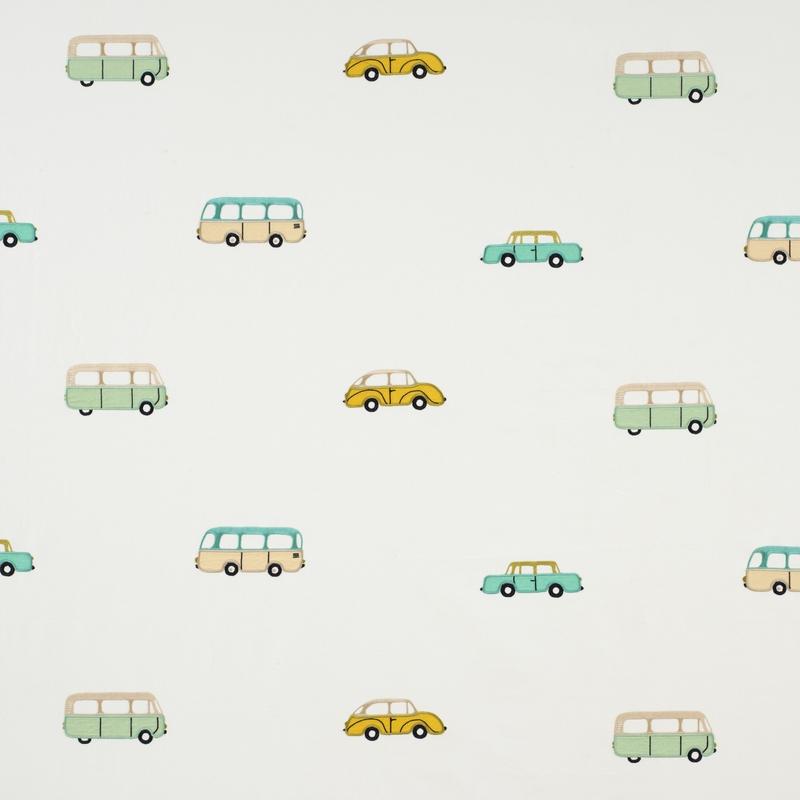 Stoff 'Happy Dreams' Autos Stickerei mint/ocker