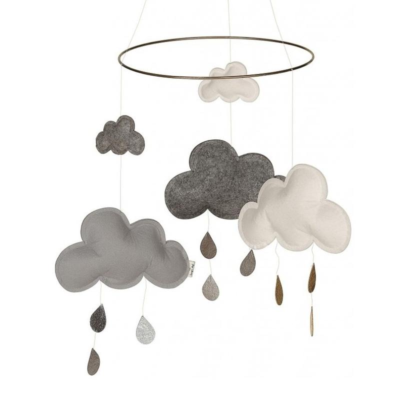 Mobile 'Wolken & Regentropfen' grau/creme