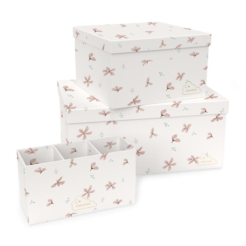 Pappboxen 'Windflower' creme/rosa 3er Set
