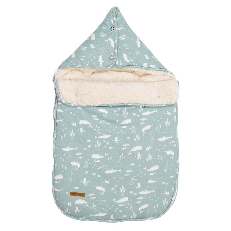 Baby-Fußsack 'Ocean' mint Jersey/Teddy