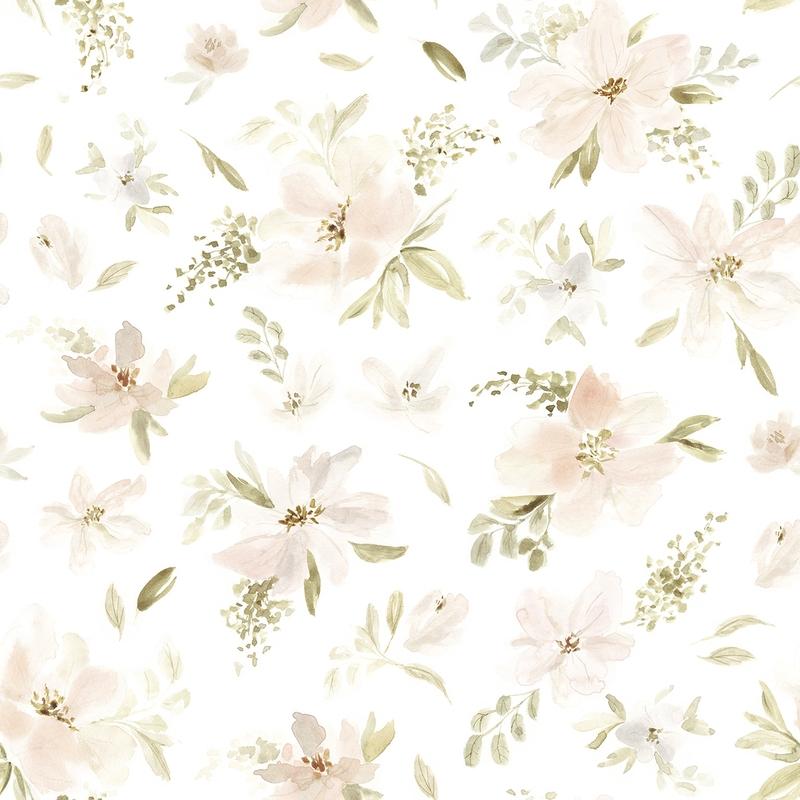 Vliestapete 'Aquarell Blumen' puderrosa