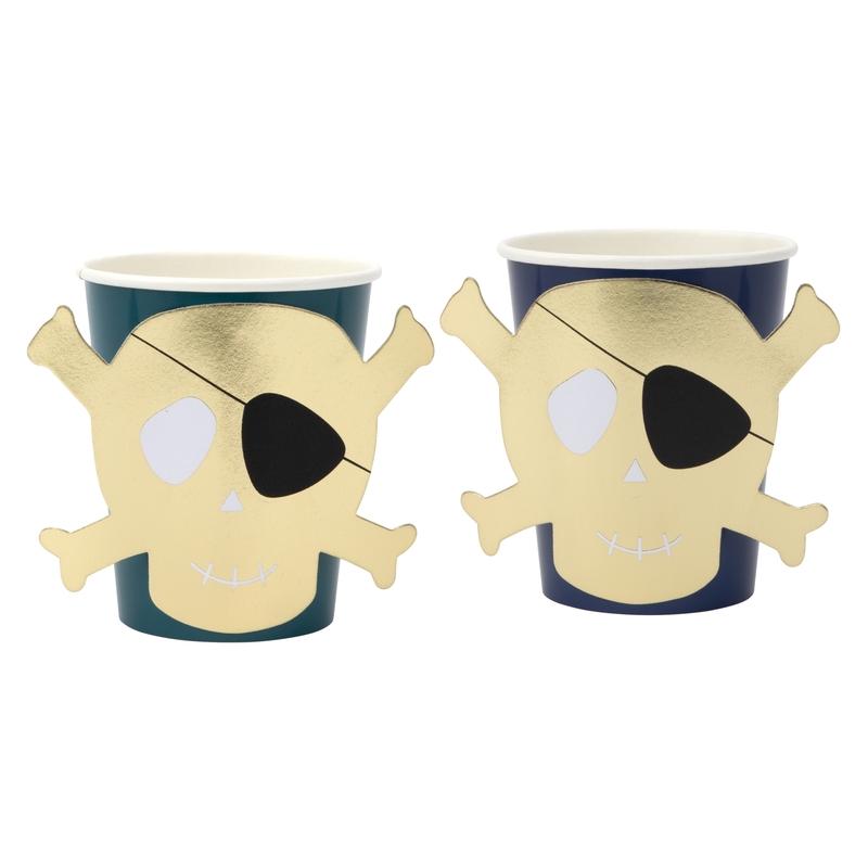 Party Pappbecher 'Pirat' gold/jade 8 Stk.