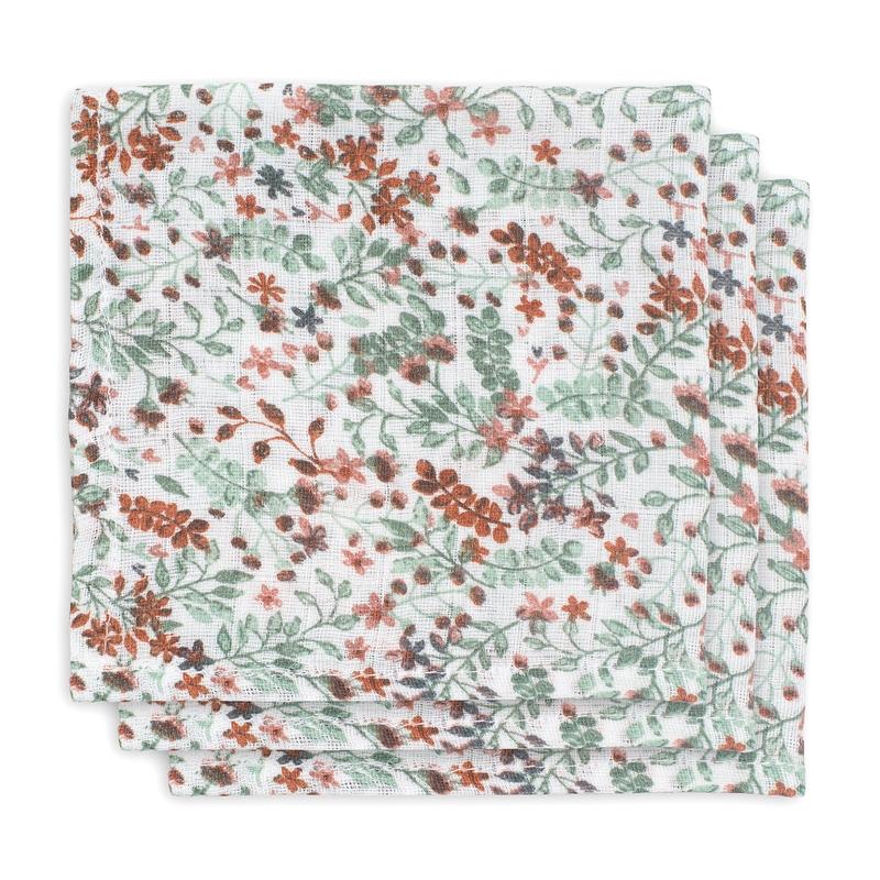 Spucktücher 'Bloom' Musselin grün/rost 3er Set