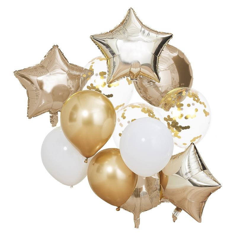 Luftballons 'Mix it Up' gold/weiß 12er Set