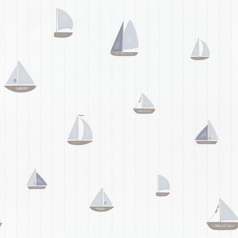 Tapete 'Rose & Nino' Schiffe blau/taupe