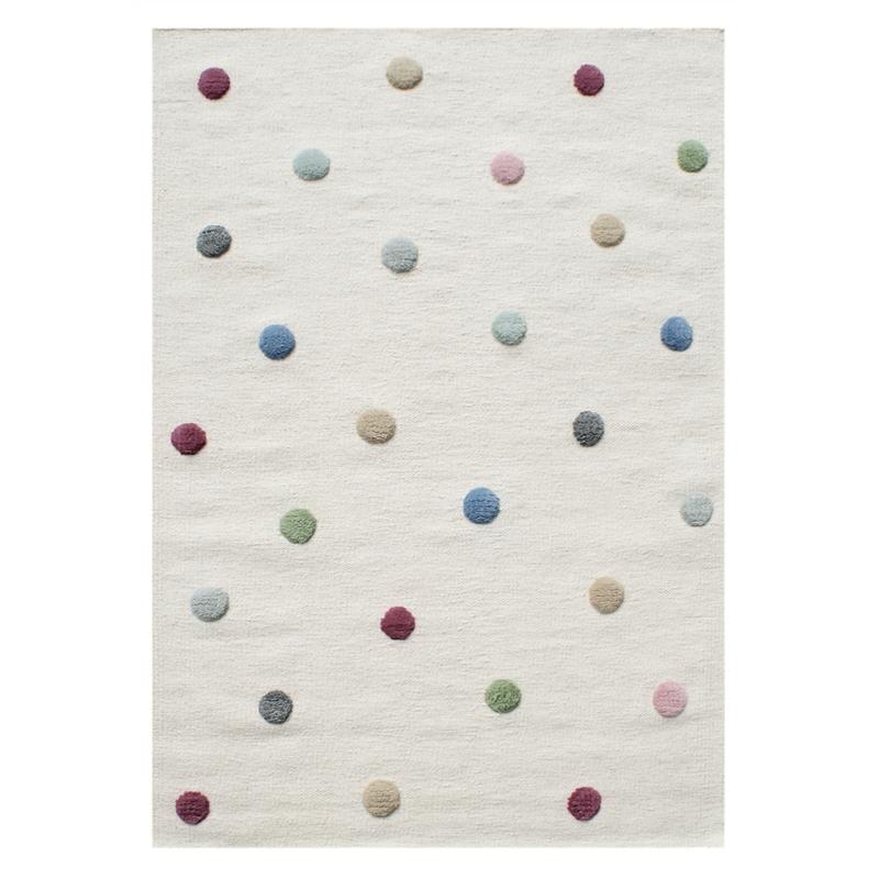 Wollteppich 'Colordots' Punkte creme