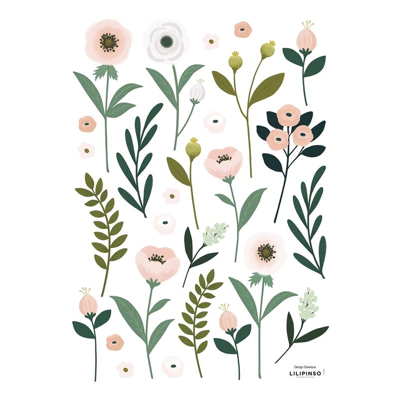 Wandsticker 'Wonderland' Blumen altrosa/grün