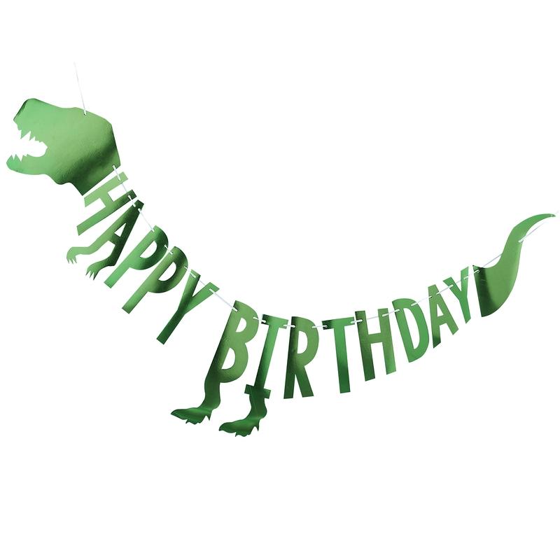 Girlande 'Happy Birthday' Dino grün 200cm