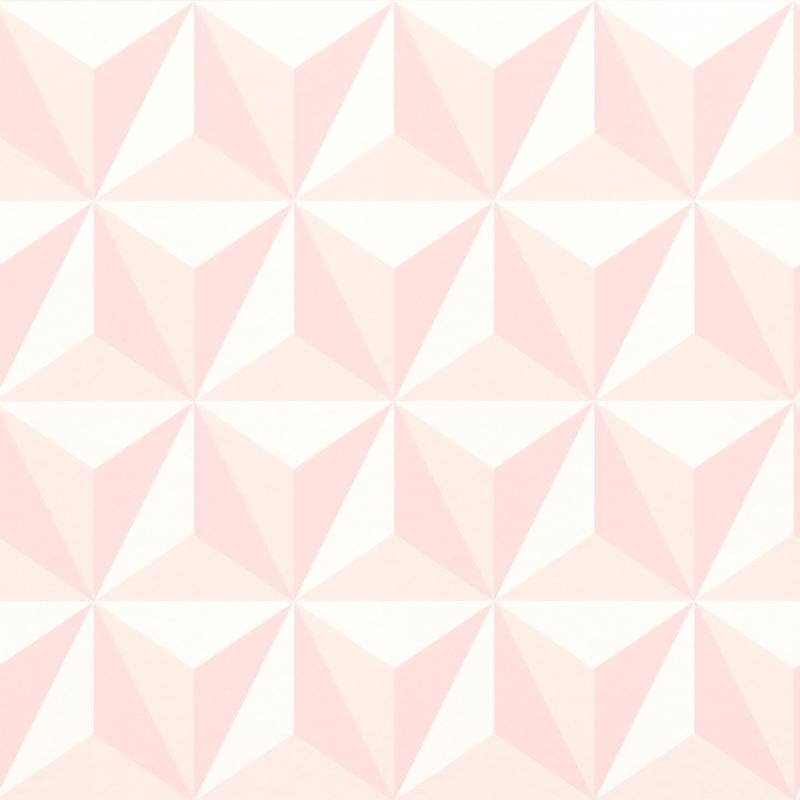 Vliestapete 'Dreiecke 3D Optik' rosa