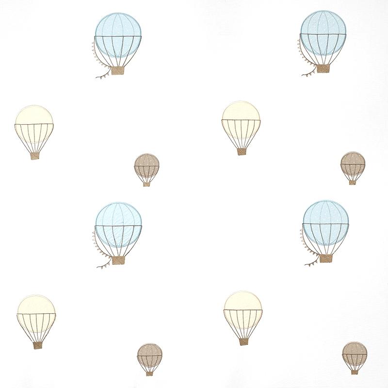 Stoff mit Stickerei 'Heißluftballons' blau/beige