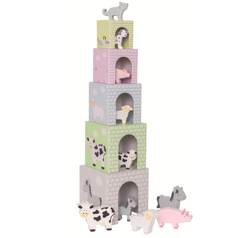 Stapelturm 'Bauernhof Tiere' pastell ab 2 Jahre