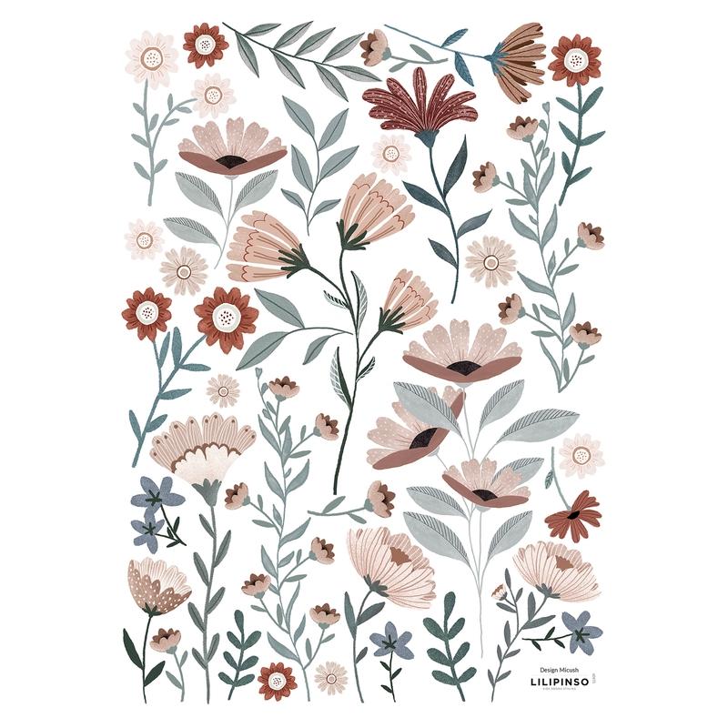 Wandsticker Blumen 'Ocean Field' altrosa