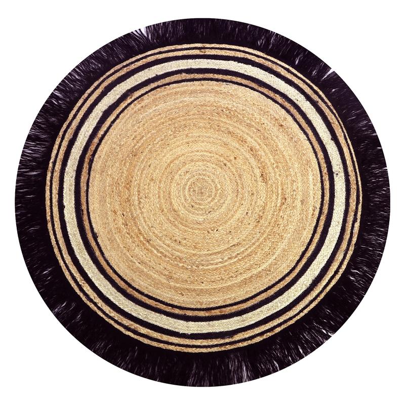 Teppich Jute 'Tess' rund schwarz/natur 110cm