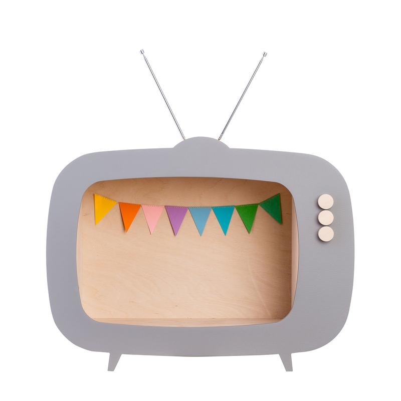Regal 'Fernseher' grau 40cm handmade