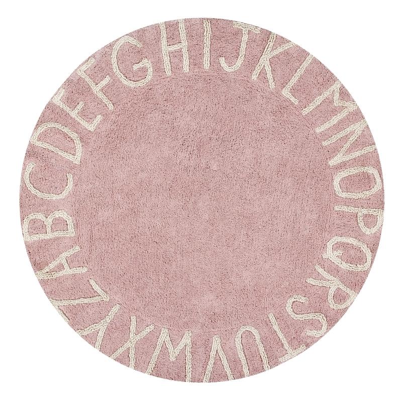 Teppich 'ABC' rund altrosa 150cm waschbar