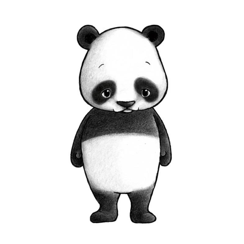 Tier-Wandsticker 'Panda' handgezeichnet