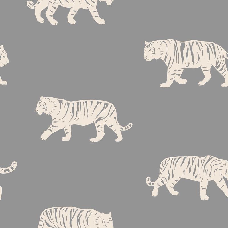 Fototapete 'Tiger' grau 180x270cm