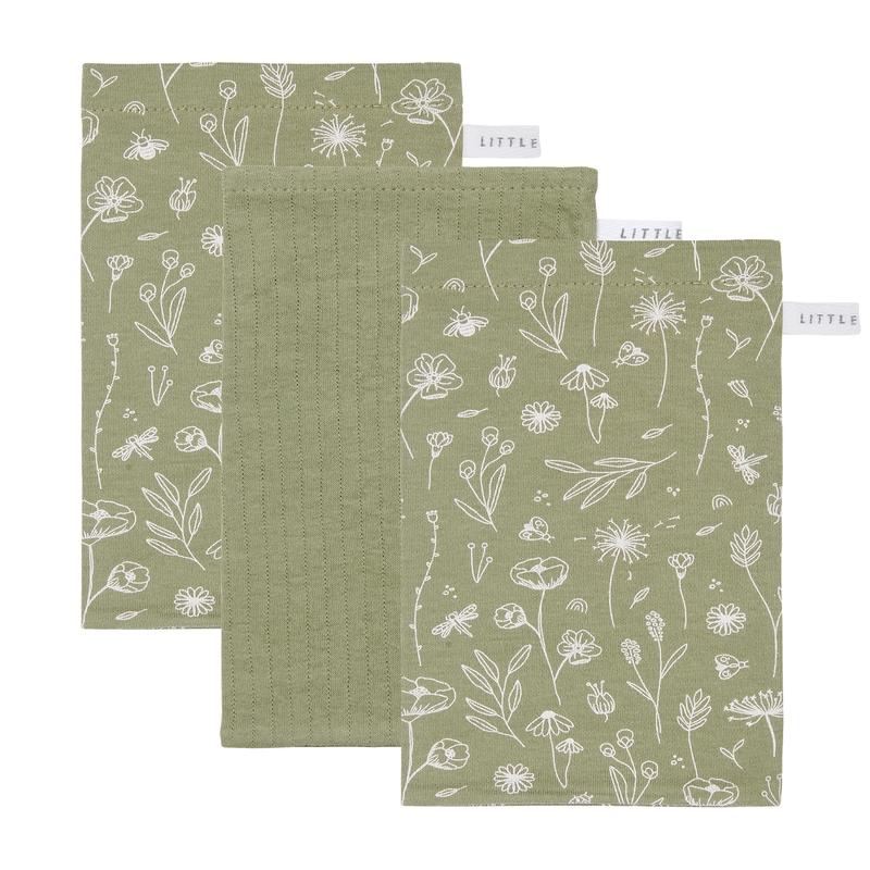 Waschlappen 'Wild Flowers' oliv 3er Set