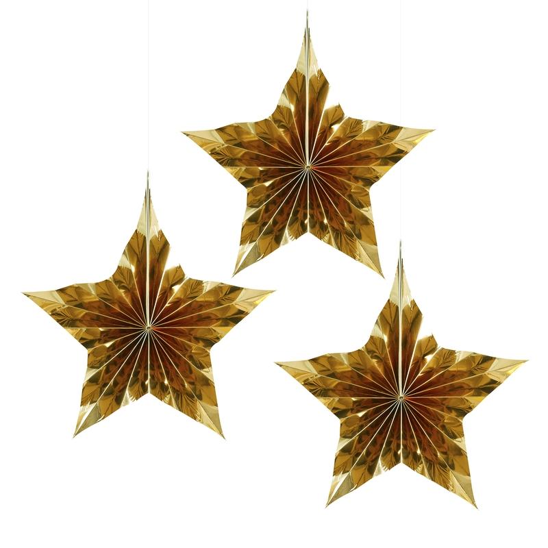Weihnachtsdeko-Fächer 'Sterne' gold 23cm