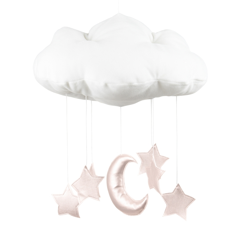 Mobile 'Wolke, Mond & Sterne' weiß/puderrosa
