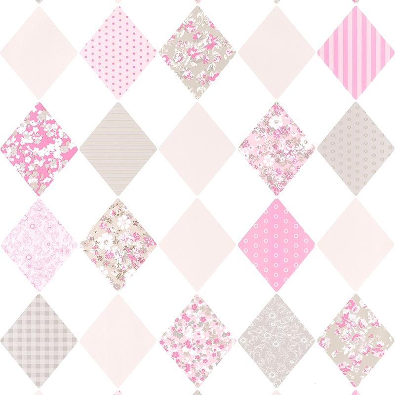 Tapete Rauten rosa/beige 'Pretty Lili'