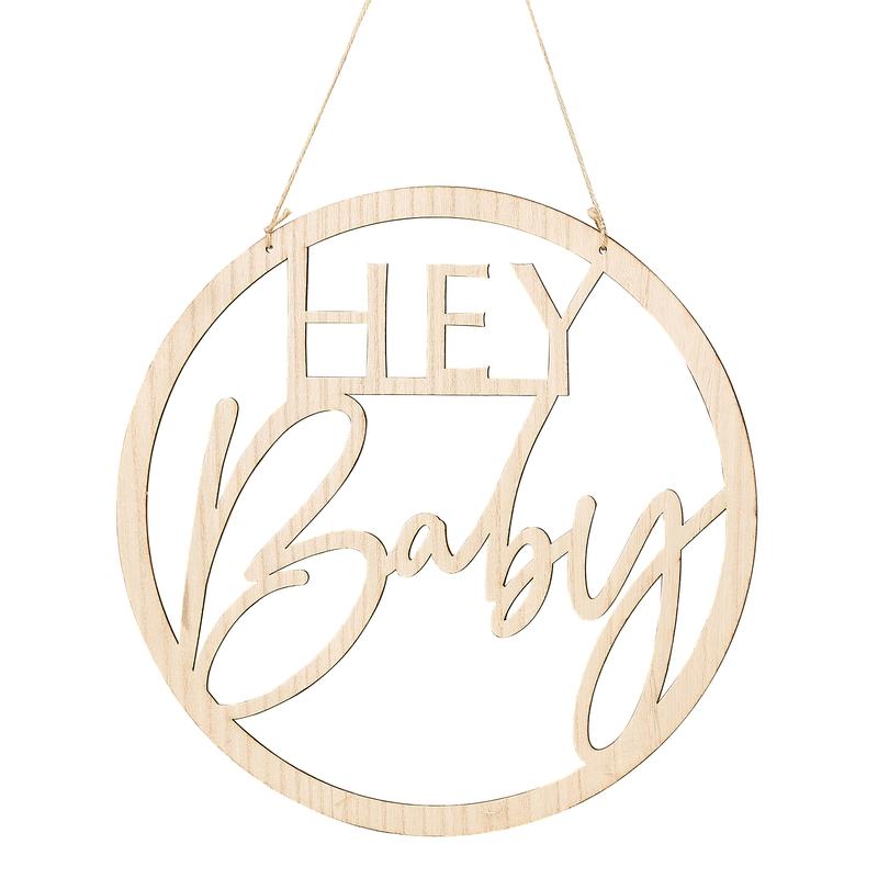 Wanddeko/Holzschild 'Hey Baby' 36cm