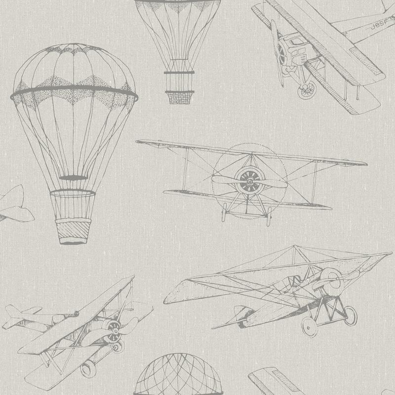 Tapete 'Newbie' Flugzeuge & Ballons beige