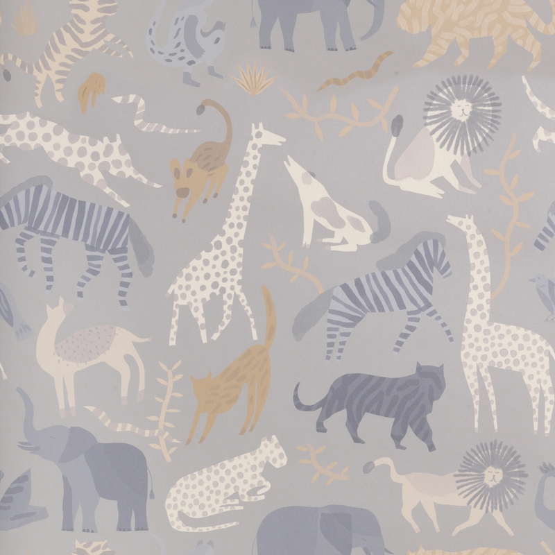 Tapete 'Safari' grau/senfgelb