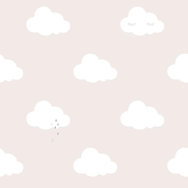 Tapete 'Wolken' creme/weiß/gold